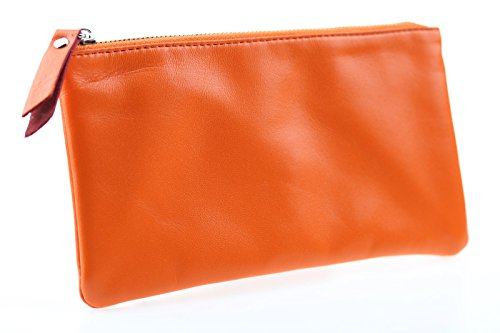 Yaoko 100% Handmade Genuine Sheepskin Leather Luxury Soft Zippered Coin Pouch Purse Credit Card Wallet (Long Style, Style2-Orange)
