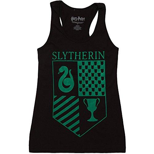 Harry Potter Slytherin Crest Juniors Racerback Tank Top - Black (Large) (Harry Styles Tank Top)