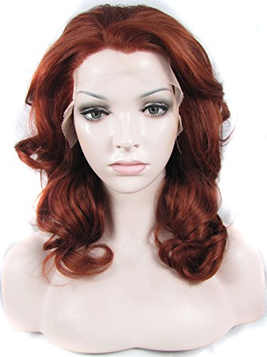 Imstyle Bob Lace Front Wigs For Women Reddish Auburn Lace Front Wig Short wavy Synthetic Fiery Red Color Wigs Should (Auburn Short Bob Wig)
