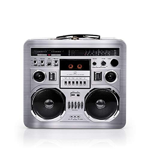 Retro Boombox Radio Lunchbox Tin Tote - 1980s Inspired Merchandise - Novelty Costume Accessories and Storage Container - Fun Unique Gifts for Halloween, Birthdays, Holidays, Graduation -