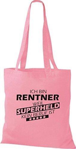 shirtstown Borsa di stoffa sono pensionato, WEIL supereroe NESSUN lavoro è - rosa, 38 cm x 42 cm