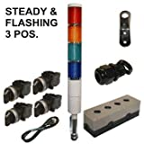 LED Tower Light Station Kit, LED Andon Light Kit KT-5214-102, LED Stacklight Kit, Flashing Capable, 120V, Red/Yellow/Green/Blue , 3 Pos Steady/Off/Flashing