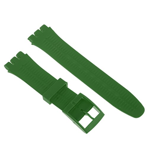 Hyper Rubber Strap (Homyl Silicone Rubber Watch Straps Bands Waterproof for Swatch Replacement Finding Components - Hyper Green)