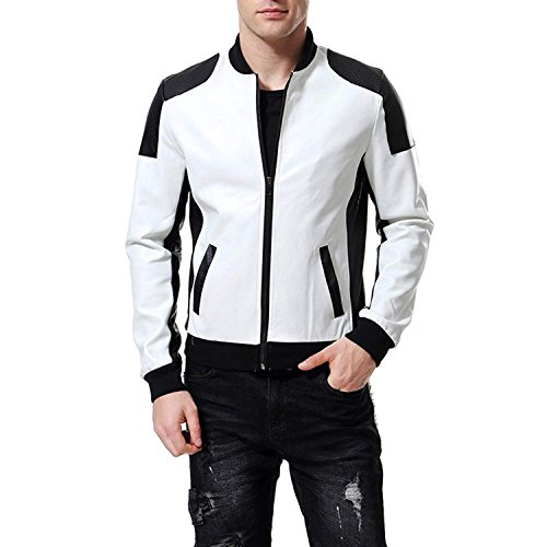 WEEN CHARM Men's Baseball PU Leather Jacket Slim Fit Coat White Black