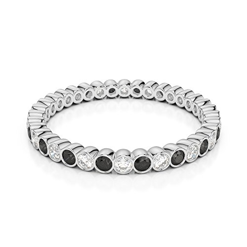 G-H/VS 0,20 CT Coupe ronde sertie de diamants Noir Full Eternity Bague en platine 950 Agdr-1098