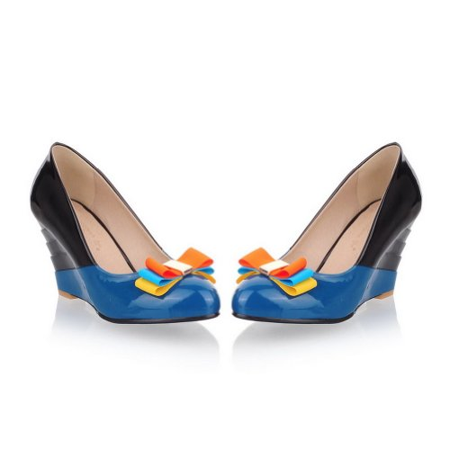 AmoonyFashion Womens Closed Round Toe High Heel Soft Material PU Pumps with Assorted Colors and Bowknot Blue X5jbpEX83G