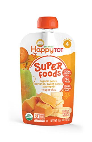 Happy Tot Superfoods Stage 4 Organic Toddler Food Pears Bananas Sweet Potato & Pumpkin + Super Chia, 4.22 Ounce Pouch (Packaging May Vary)
