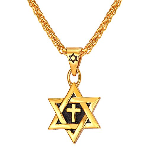 U7 Star of David Jewelry Stainless Steel / 18K Gold Plated Six Pointed Megan Star Pendant Necklace/Brooches, 3 Pattern Design Cross, Eye of Horus or Heart