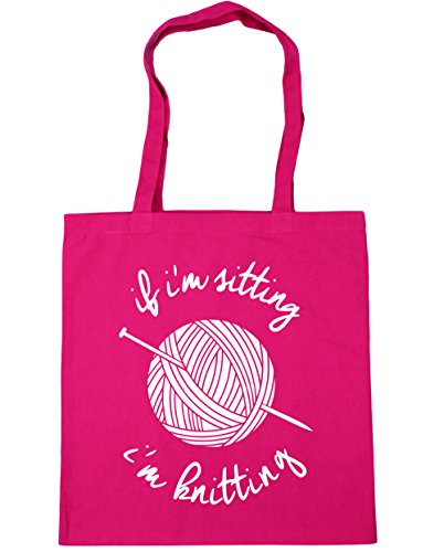 HippoWarehouse If I'm Sitting I'm Knitting Tote Shopping Gym Beach Bag 42cm x38cm, 10 litres Fuchsia
