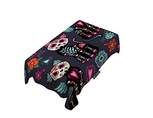 NICOKEE Cat Jpg Day of The Dead and Halloween Table Cover for Kitchen Dinning Party End Table -