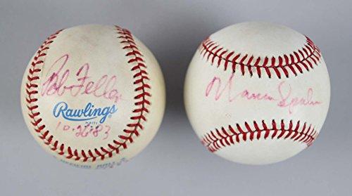 (MLB Pitchers - Bob Feller & Warren Spahn Signed Baseballs - COA JSA)