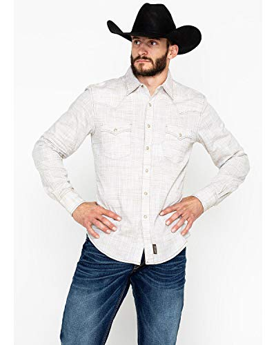 Wrangler Men's Retro Premium Long Sleeve Snap Shirt Khaki Large