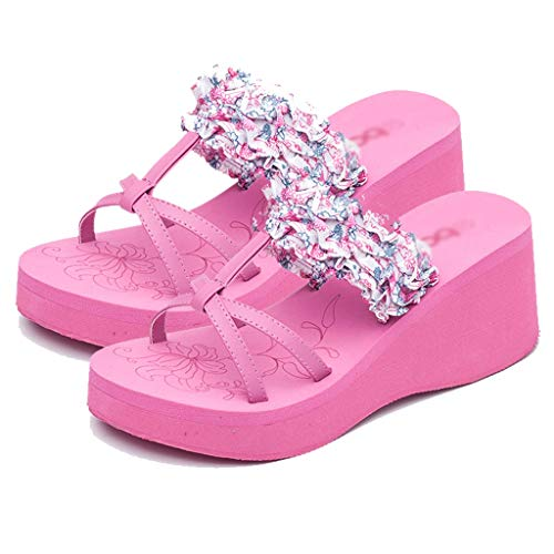 Summer Women's Shoes Size heeled Floral slip AMINSHAP Feet With Yellow Non Sandals 37EU Wedges Pink Platform Color Muffin High Slippers qC56X