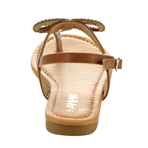 Anna Adriana-32 Womens Nydelig Bue T-stropp Lave Flate Sandaler, Tan, 5.5