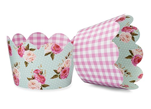 Shabby Chic Floral Cupcake Wrappers for Girls Birthday Parties, Boho Themed Parties, Floral Baby or Bridal Showers and Weddings. Set of 24 Reversible Pink Gingham, Vintage Floral Cup Cake Holder]()