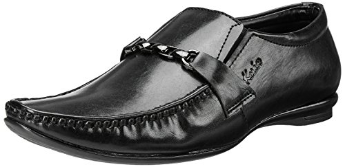 Kosher Men's Black Leather Loafers and Moccasins