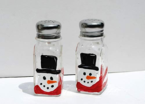(Top Hat Snowman Hand Painted Christmas Salt & Pepper Shakers Set, Holiday Kitchen Décor)