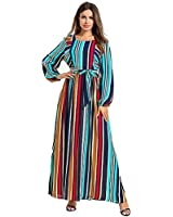 Rainbow Loose Striped Dresses for Women Long Sleeves Maxi Dress Womens Dresses Long Sleeve Dresses for Women Plus Size Summer Dresses for Women Bohemian Dress Striped Colorful Dress Size XXXL