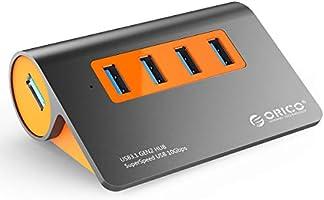 ORICO USB 3.1 Hub, 4 Port Powered USB Hub, Aluminum USB 3.1 Gen2 10 Gbit/s Datenhub mit USB-A to USB-A 100cm Kabel und...