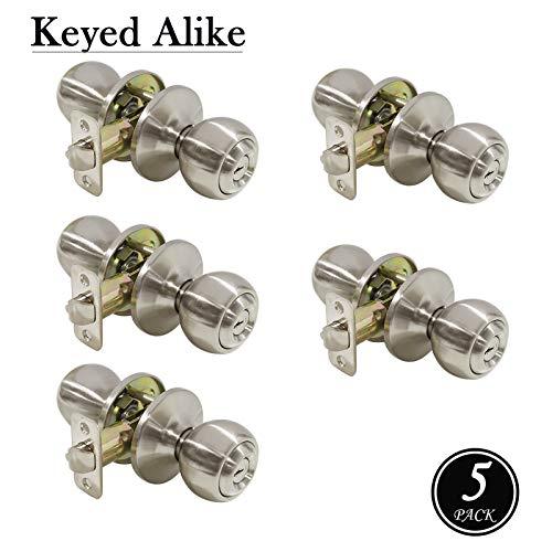 - Knobonly 5763 Brushed Nickel Finish Door Knobs Stainless Steel Round Door Lock (5 Pack, Keyed Alike Entry Door Knobs)