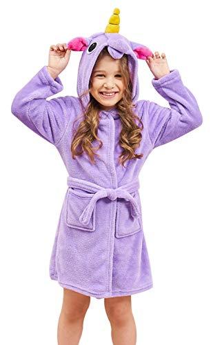 (Soft Unicorn Hooded Bathrobe Sleepwear - Unicorn Gifts for Girls (5-6 Years, Purple Unicorn))