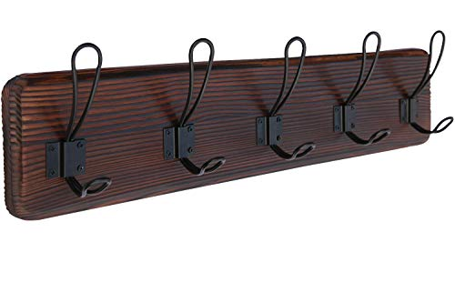 Rustic Coat Rack Wall Mounted Farmhouse Coat Hooks Wall Mounted Entryway Wooden Wall Coat Rack Dark Wood