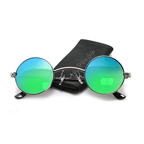 Small Round Steampunk retro Sunglasses Circle Sunglasses John Lennon Metal Frame (Silver & - Sunglasses Steampunk Are What