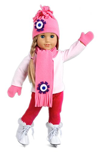 DreamWorld Collections Ice Skating Fun - 6 Piece Outfit Fits 18 inch American Girl Doll - Pink Fleece Blouse with Stretchy Leggings, Hat, Scarf, Mittens and White Ice Skates - (Doll not Included)