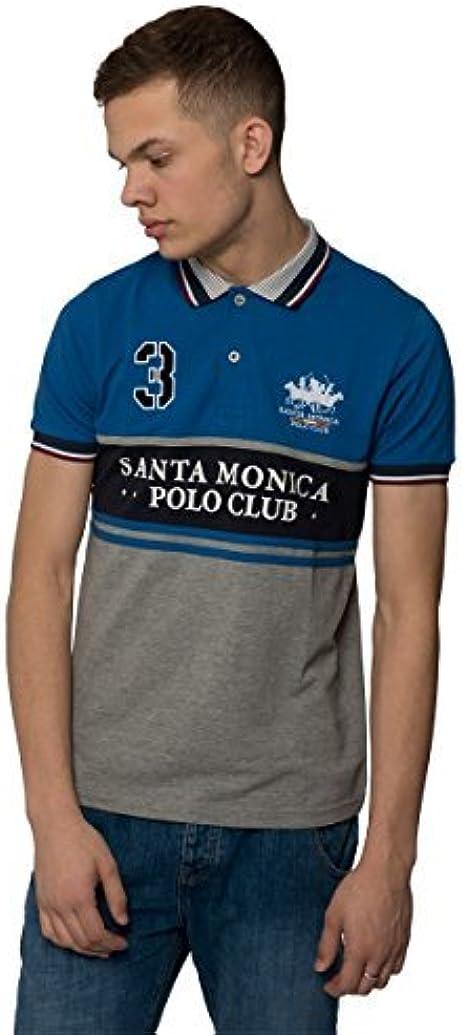 Santa Monica Polo Club Hombre Polo Casual Diseño De Marca texto ...