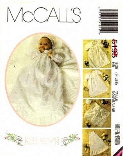 McCall's 5195 Sewing Pattern Kitty Benton Christening Coat Cape Gown Slip Bonnet Blanket Newborn