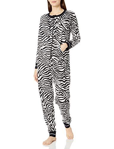 Amazon Brand - Mae Women's Sleepwear Vintage Thermal Loose Fit Onesie, Zebra Print, L