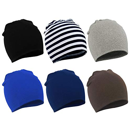 Zando Baby Beanies Toddler Beanie Baby White Beanie for Infants Beanie Babies Hat Baby Boy Slouchy Beanie Hats Caps Black & Stripe & Navy & Light Grey & Blue & Coffee Large (1-4 years)