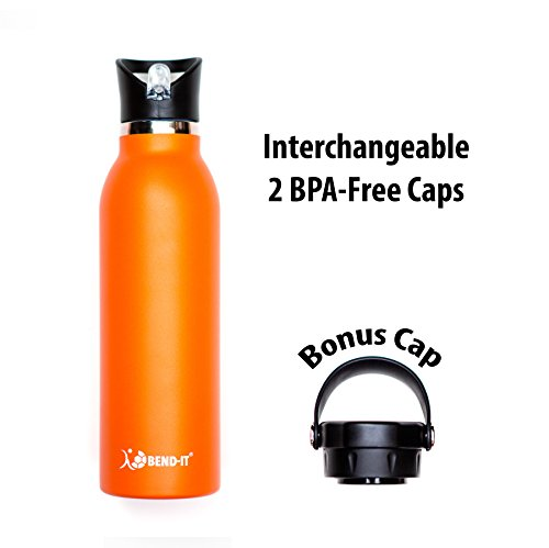 Bend-It Stainless Steel Orange Water Bottle - Flask 21 oz Double Wall Vacuum Insulated, Leak Proof Standard Mouth With 2 BPA Free Sport Caps: Flip Top Hydro Straw Lid & Flex Cap Screw Top