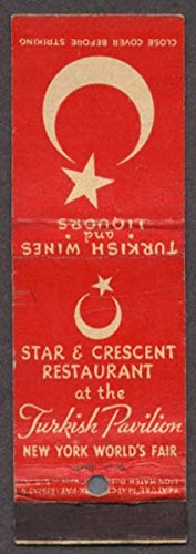 Star & Crescent Turkish NY World's Fair 1939 matchcover