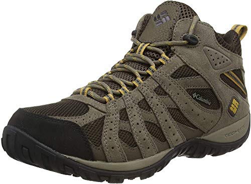 affordable Columbia Men's Redmond Mid Waterproof Boot, Breathable, High-Traction Grip Hiking, Cordovan, Dark Banana, 10.5 D US