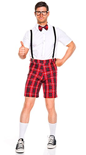 Music Legs Classroom Nerd Men's Costume White/Red (X-Large) -