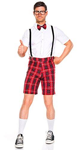 Music Legs Classroom Nerd Men's Costume White/Red - Nerd Costume Male