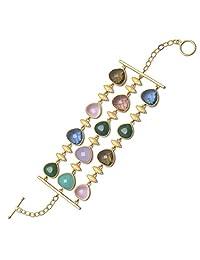 """925-sterling 7.75"""" 18 Karat Gold Plated Multicolor Glass Toggle Bracelet"""