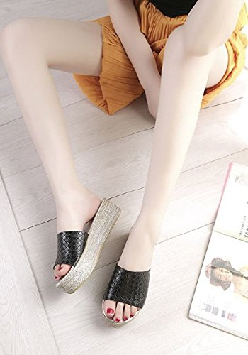Negro 40 elegante Bizcocho Transpirable AJUNR zapatillas Sandalias con Moda gruesos 5cm 38 zapatos pendiente FwPnxT4q7
