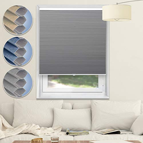 Blackout Blinds Cordless Shades Cellular Shades Honeycomb Window Blinds for Home and Office,Grey-White, 34×64