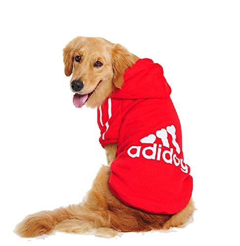 UUstar® Hundekleidung für kleine und große Hund (S bis 9XL) fünf Farben HundeHoddie (L, Rot)