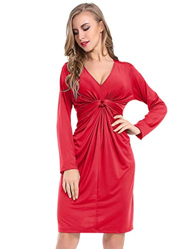 Lomantise Midi-Maternity-Dress for Casual,Ruched-Knot Front V Neck Long-Sleeve Dress