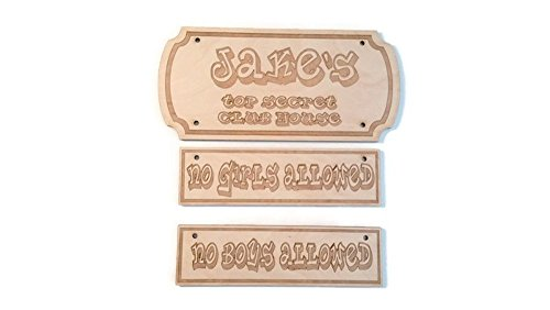 Personalized Child Name Sign- Top Secret Club House - 10.5 in by 5 in - No Girls Allowed or No Boys Allowed Sign - 8-5/8 in by 2-1/2 in - Birch - Set of 2 - Club Wood Sign