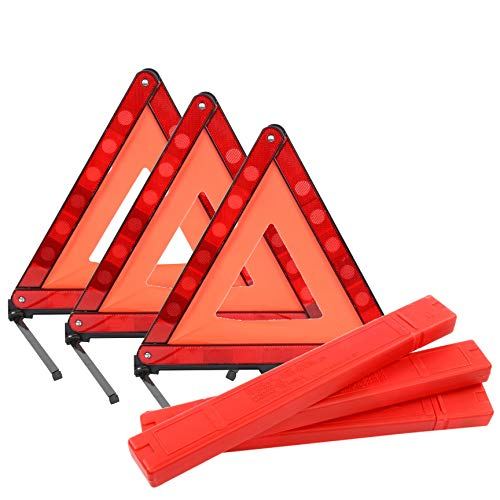 YaeKoo Triple Warning Triangle Emergency Warning Triangle Reflector Safety Triangle Kit, Foldable Reflective Roadside Safety Warning Sign, 3-Pack ()