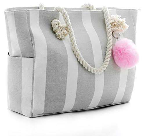 Large Canvas Shoulder Bag - Beach Tote with Cotton Rope Handles and Cute Pompom (Gray/White) -