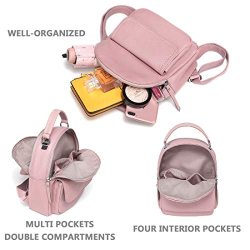 Pink Women Teen Girls for Leather PU Daypack Backpack ChaseChic Casual Cute Mini Rucksack Purse Backpack xPa6A
