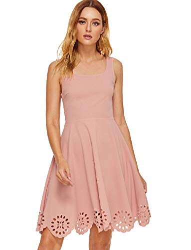 - Romwe Women's A Line Swing Sleeveless Scalloped Flare Cocktail Party Dress Pink M