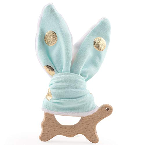 (Baby Wooden Teething Toys Ring Teether Bunny Ear with Tortoise Montessori Toys)
