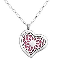 Charmed Craft Heart Aromatherapy Essential Oil Diffuser Necklace Stainless Steel Locket Pendant