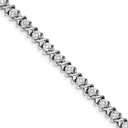 - 925 Sterling Silver Diamond Bracelet 7 Inch Tennis Add?a? Hug Kiss Qd Fine Jewelry Gifts For Women For Her